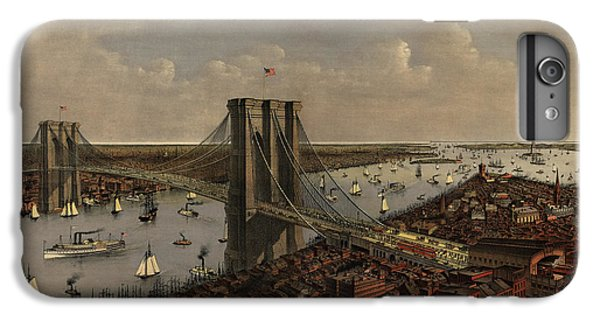 Antique Birds Eye View Of The Brooklyn Bridge And New York City By Currier And Ives - 1885 IPhone 7 Plus Case by Blue Monocle