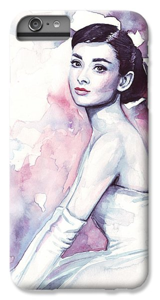 Audrey Hepburn Purple Watercolor Portrait IPhone 7 Plus Case by Olga Shvartsur