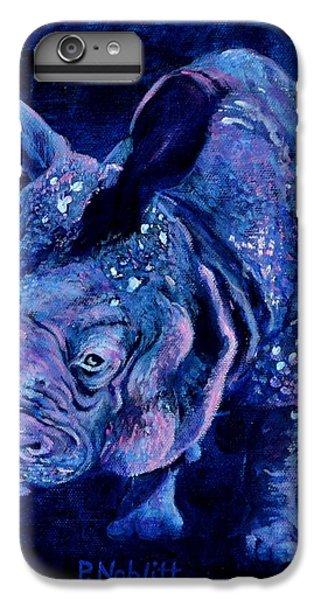 Indian Rhino - Blue IPhone 7 Plus Case by Paula Noblitt
