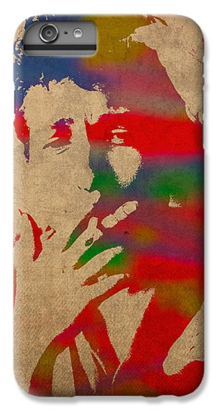 Bob Dylan Watercolor Portrait On Worn Distressed Canvas IPhone 7 Plus Case by Design Turnpike