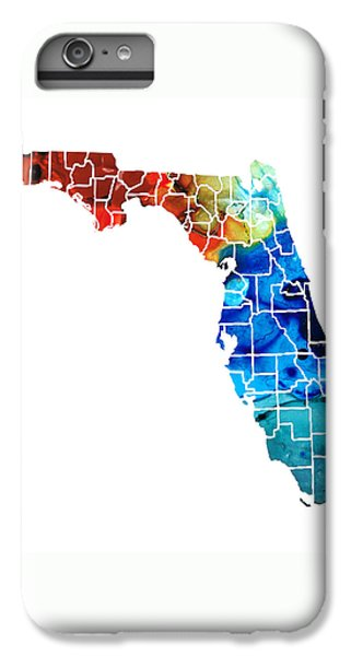 Florida - Map By Counties Sharon Cummings Art IPhone 7 Plus Case by Sharon Cummings
