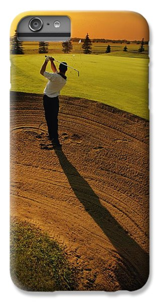 Golfer Taking A Swing From A Golf Bunker IPhone 7 Plus Case by Darren Greenwood