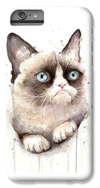 Grumpy Cat Watercolor IPhone 7 Plus Case by Olga Shvartsur