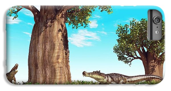 Kaprosuchus Prehistoric Crocodiles IPhone 7 Plus Case by Walter Myers