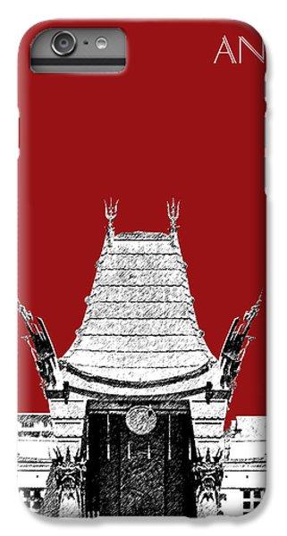 Los Angeles Skyline Graumans Chinese Theater - Dark Red IPhone 7 Plus Case by DB Artist