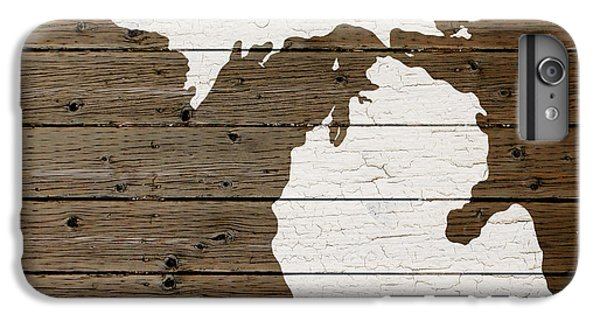 Map Of Michigan State Outline White Distressed Paint On Reclaimed Wood Planks IPhone 7 Plus Case by Design Turnpike