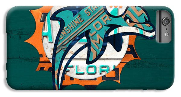 Miami Dolphins Football Team Retro Logo Florida License Plate Art IPhone 7 Plus Case by Design Turnpike