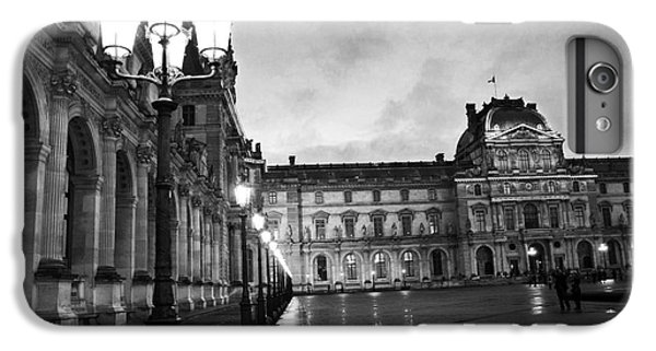 Paris Louvre Museum Lanterns Lamps - Paris Black And White Louvre Museum Architecture IPhone 7 Plus Case by Kathy Fornal