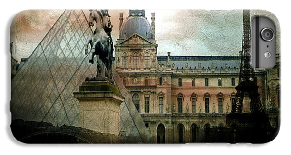 Paris Louvre Museum Pyramid Architecture - Eiffel Tower Photo Montage Of Paris Landmarks IPhone 7 Plus Case by Kathy Fornal