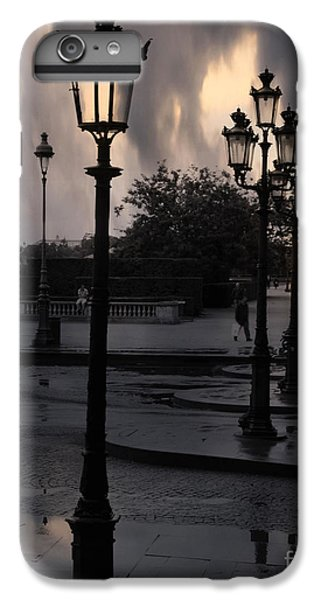 Paris Surreal Louvre Museum Street Lanterns Lamps - Paris Gothic Street Lamps Black Clouds IPhone 7 Plus Case by Kathy Fornal