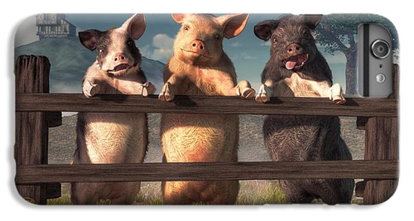 Pigs On A Fence IPhone 7 Plus Case by Daniel Eskridge