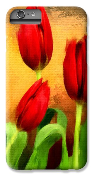 Red Tulips Triptych Section 2 IPhone 7 Plus Case by Lourry Legarde