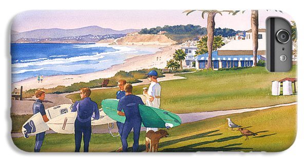 Surfers Gathering At Del Mar Beach IPhone 7 Plus Case by Mary Helmreich
