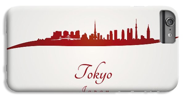 Tokyo Skyline In Red IPhone 7 Plus Case by Pablo Romero