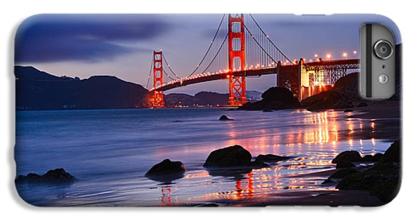 Twilight - Beautiful Sunset View Of The Golden Gate Bridge From Marshalls Beach. IPhone 7 Plus Case by Jamie Pham