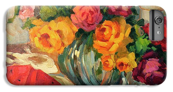 Watermelon And Roses IPhone 7 Plus Case by Diane McClary