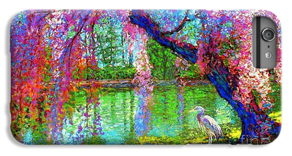 Weeping Beauty, Cherry Blossom Tree And Heron IPhone 7 Plus Case by Jane Small