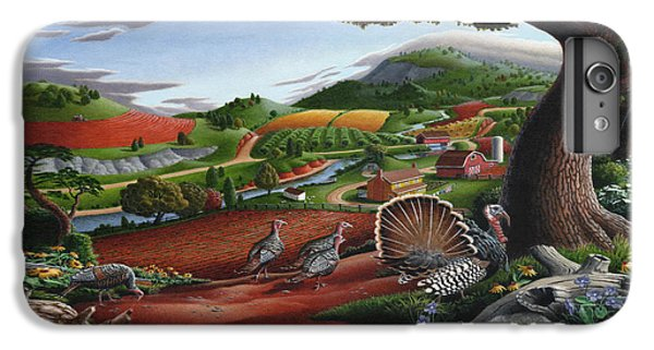 Wild Turkeys Appalachian Thanksgiving Landscape - Childhood Memories - Country Life - Americana IPhone 7 Plus Case by Walt Curlee
