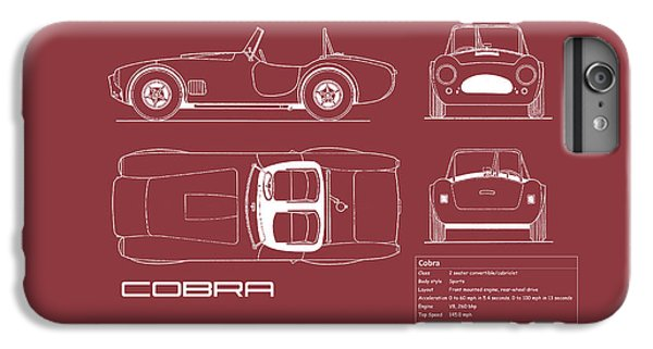 Ac Cobra Blueprint - Red IPhone 7 Plus Case by Mark Rogan