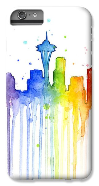 Seattle Rainbow Watercolor IPhone 7 Plus Case by Olga Shvartsur