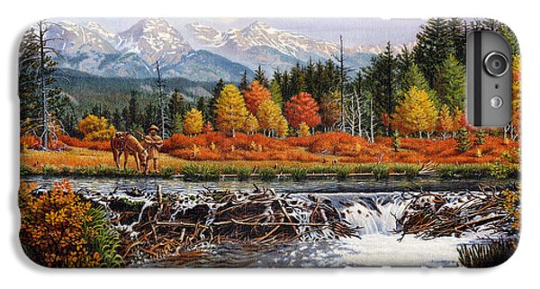 Western Mountain Landscape Autumn Mountain Man Trapper Beaver Dam Frontier Americana Oil Painting IPhone 7 Plus Case by Walt Curlee