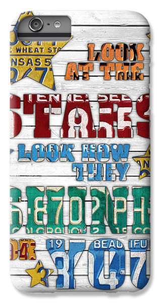 Look At The Stars Coldplay Yellow Inspired Typography Made Using Vintage Recycled License Plates V2 IPhone 7 Plus Case by Design Turnpike