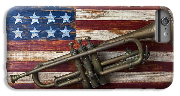 Old Trumpet On American Flag IPhone 7 Plus Case by Garry Gay