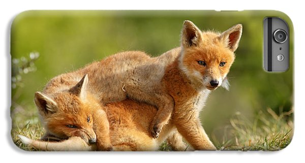 Sibbling Love - Playing Fox Cubs IPhone 7 Plus Case by Roeselien Raimond