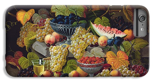 Still Life Of Melon Plums Grapes Cherries Strawberries On Stone Ledge IPhone 7 Plus Case by Severin Roesen