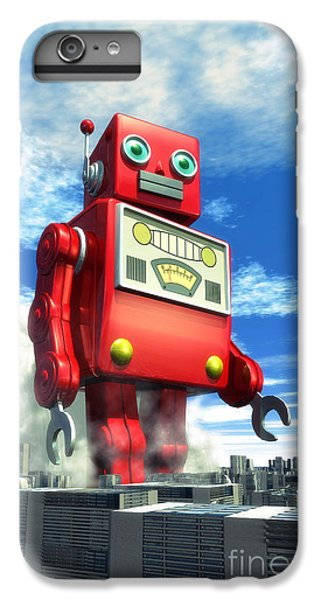 The Red Tin Robot And The City IPhone 7 Plus Case by Luca Oleastri