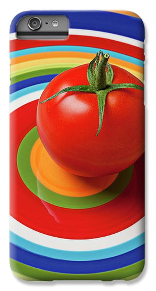 Tomato On Plate With Circles IPhone 7 Plus Case by Garry Gay