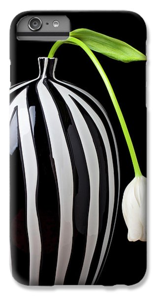 White Tulip In Striped Vase IPhone 7 Plus Case by Garry Gay