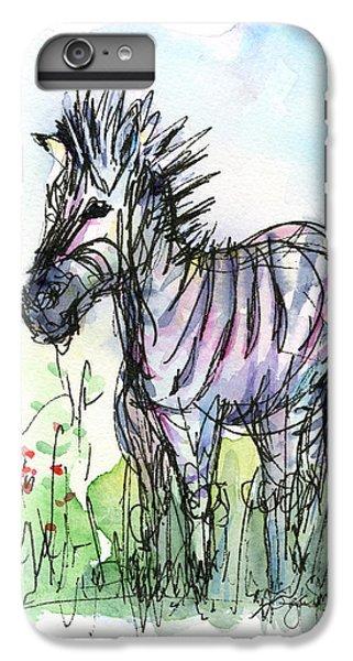 Zebra Painting Watercolor Sketch IPhone 7 Plus Case by Olga Shvartsur