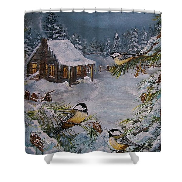 Black Capped   Chickadee's  Shower Curtain by Sharon Duguay