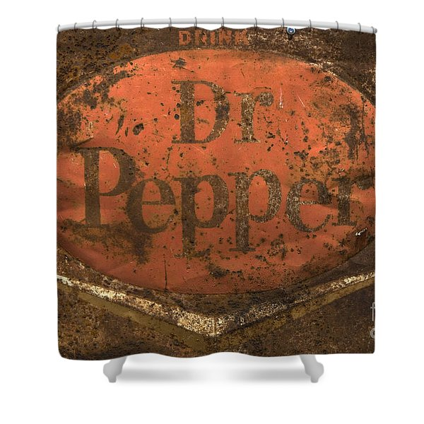 Dr Pepper Vintage Sign Shower Curtain by Bob Christopher