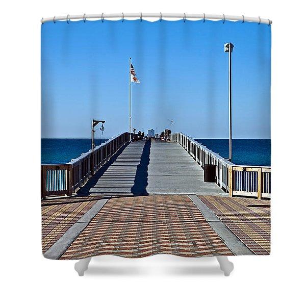 Fishing Pier Shower Curtain by Susan Leggett