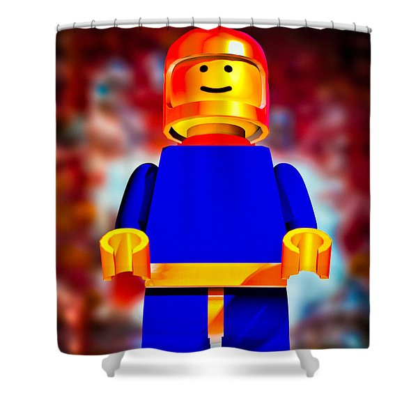 Lego Spaceman Shower Curtain by Bob Orsillo