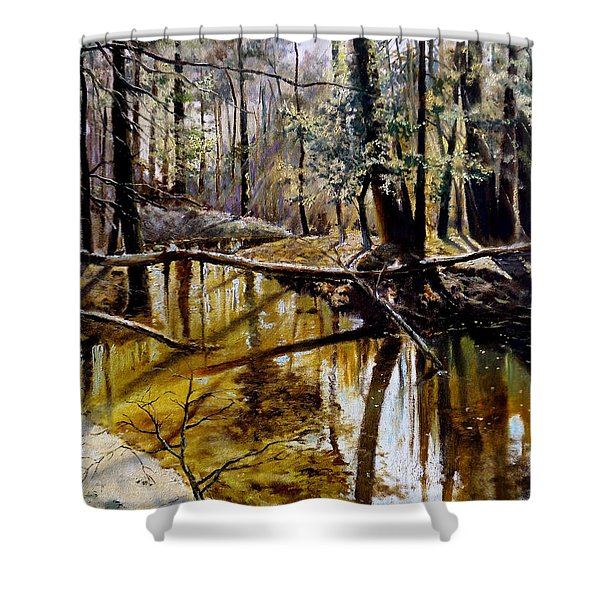 Lubianka-2-river Shower Curtain by Henryk Gorecki