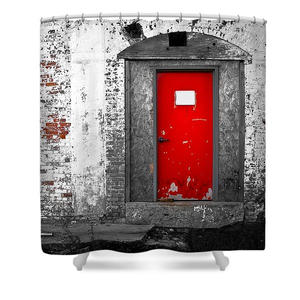 Red Door Perception Shower Curtain by Bob Orsillo