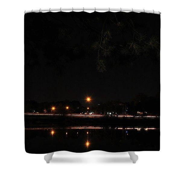 001 Japanese Garden Autumn Nights   Shower Curtain by Michael Frank Jr
