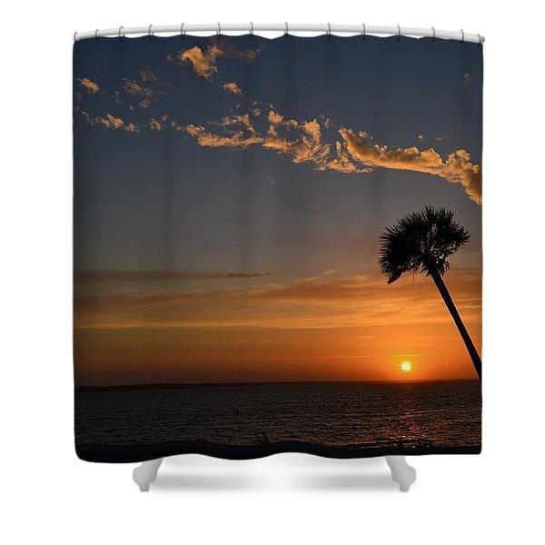 0502 Palms with Sunrise Colors on Santa Rosa Sound Shower Curtain by Jeff at JSJ Photography