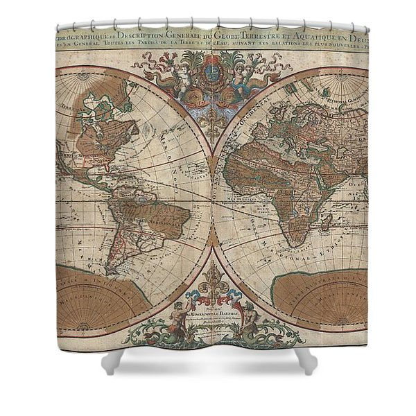 1691 Sanson Map of the World on Hemisphere Projection Shower Curtain by Paul Fearn