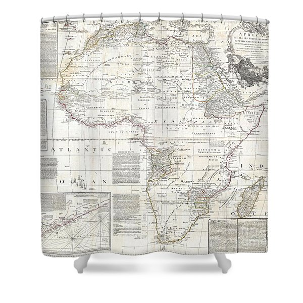 1794 Boulton And Anville Wall Map Of Africa Shower Curtain by Paul Fearn