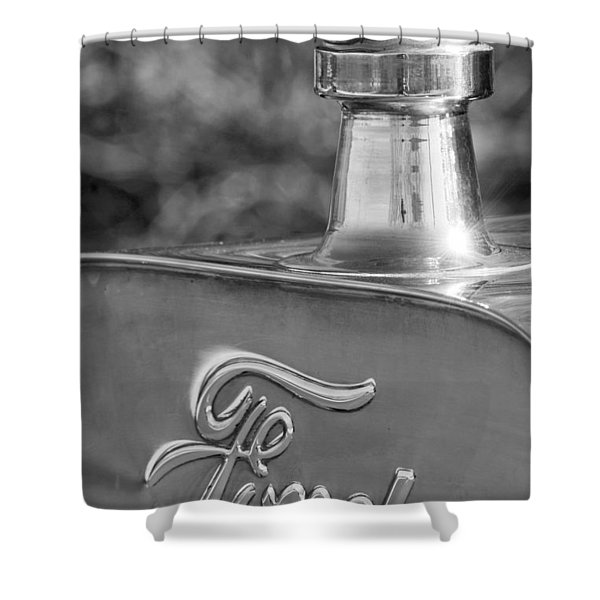 1911 Ford Model T Torpedo 4 Cylinder 25 Hp Hood Ornament  Emblem Shower Curtain by Jill Reger