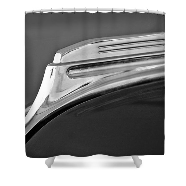 1938 Oldsmobile RJ8 Club Coupe Hood Ornament Shower Curtain by Jill Reger