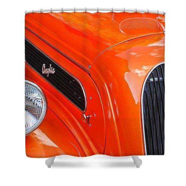 1948 Anglia 2-door Sedan Grille Emblem Shower Curtain by Jill Reger