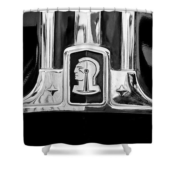 1948 Pontiac Streamliner Woodie Station Wagon Emblem Shower Curtain by Jill Reger