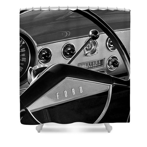 1951 Ford Crestliner Steering Wheel Shower Curtain by Jill Reger