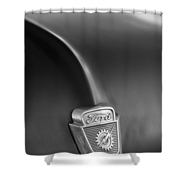 1953 Ford F100 Pickup Truck Hood Emblem Shower Curtain by Jill Reger