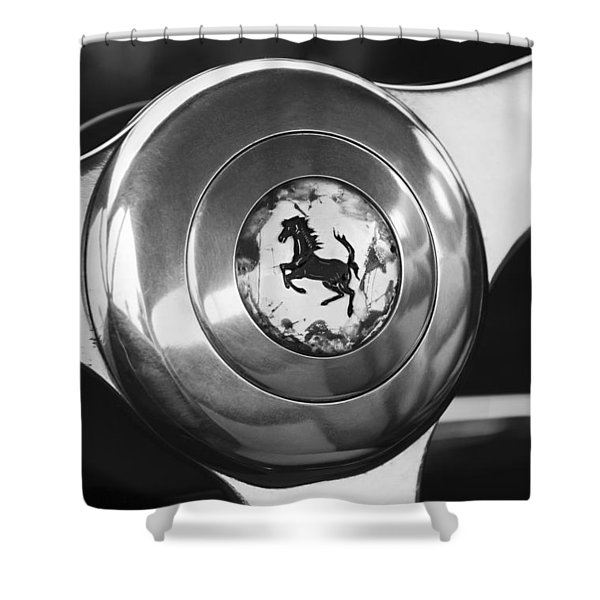 1955 Ferrari 250 Europa Gt Pinin Farina Berlinetta Steering Wheel Emblem Shower Curtain by Jill Reger